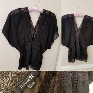 Romantic Forever21 kimono top black buttons boho S